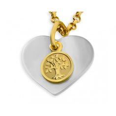 Ein wunderschöner Anhänger mit einem Herz aus echtem Perlmutt und einem vergoldeten 925 Sterling Silber Lebensbaum davor.