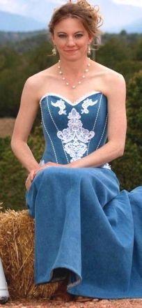 Casual Western Denim Wedding Dresses Corset