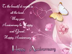 Happy Anniversary Wishes Images and Quotes. Send Anniversary Cards with Messages. Happy wedding anniversary wishes, happy birthday marriage anniversary Happy Wedding Anniversary Cards, Happy Anniversary Quotes, Marriage Anniversary, Anniversary Greetings, Romantic Anniversary, Butterfly Background, Butterfly Wallpaper, Pink Butterfly, Pink Wallpaper