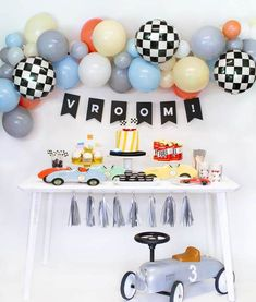 2nd Birthday Party For Boys, Race Car Birthday, Race Car Party, Cars Birthday Parties, Race Cars, Car Themed Birthday Party, Boys First Birthday Party Ideas, 1st Birthday Themes, Two Fast Two Furious