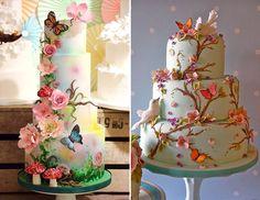 """Sim, a gente ama o tema """"jardim encantado""""! Já fizemos um post com vestidos dignos de contos de fadas e, agora, chegou a hora dos bolos! Apesar de o tema s Butterfly Baby Shower, Butterfly Party, Butterfly Cakes, 1st Birthday Party Decorations, Birthday Parties, Fairy Birthday, Cake Boss, Girl Cakes, Love Cake"""