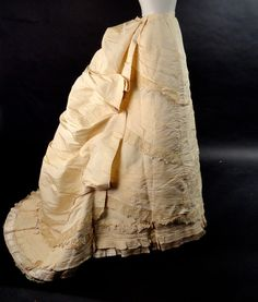 1880s Ivory Silk Bustle Skirt