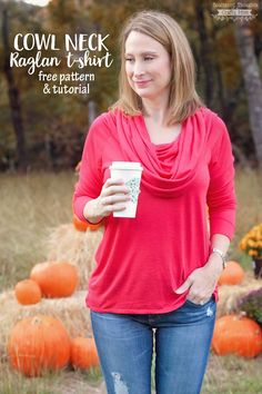 I love sharing free sewing patterns and I've got a great twist on my Ladies Raglan Pattern for you today: how to sew a Cowl Neck Top with this free pattern!