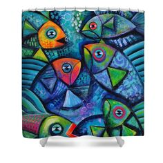 Whimsical fish Shower Curtain by Karin Zeller