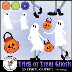 Trick or Treat Ghosts set 1 with 20 png files by IrrationalArts, $4.95