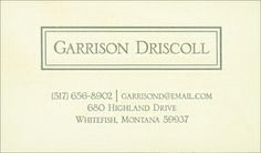 Driscoll Framed Business Cards