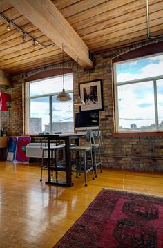 Toronto Lofts, Industrial Office Space, Centre Island, Hardwood Floors, Flooring, Exposed Brick Walls, Open Concept Kitchen, Wood Ceilings, Beams