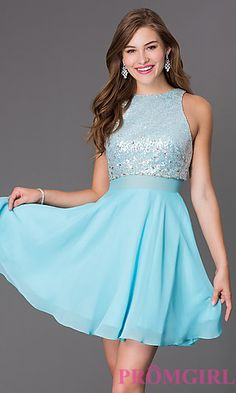 Short Sleeveless Dress with Sequin Bodice at PromGirl.com
