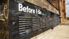 I spotted Before I Die, an awesome street art/installation project done by Candy Chang in New Orleans over on Honestly WTF. Nothing gets me more pumped than street art that is positively interactive.