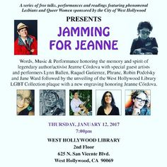 Join @wehocity and @june_l_mazer_lesbian_archives for Jamming for Jeanie celebrating #jeannecordova this Thursday