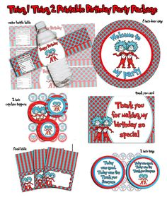 Thing 1 Thing 2 Printable Birthday party Package by LoveJonyB Dr Seuss Party Ideas, Dr Seuss Birthday Party, Twin Birthday Parties, Second Birthday Ideas, Twin First Birthday, 3rd Birthday, Thing 1 Thing 2 Party, Twins 1st Birthdays, Party Package
