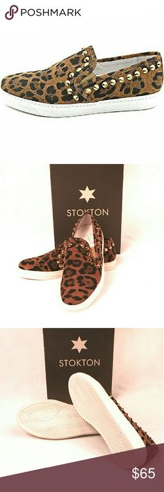 Italian Stokton Leather Leopard Studded Slip Ons Black & Brown Leather, Leopard Print Studded Slip On Fashion Sneakers Size: EU 36 - US 6 Made in Italy Leathrt upper, leather lining, rubber sole Round toe; slip on; elastic goring at sides; stud accents. This pair is new, but it was a store display. stokton Shoes Flats & Loafers
