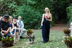 Bridesmaid Walking Down Aisle with DOg   Seattle-Washington-Wedding-Photographer-Woodland-Park-Zoo-Destination-Wedding-Photographer-TréCreative
