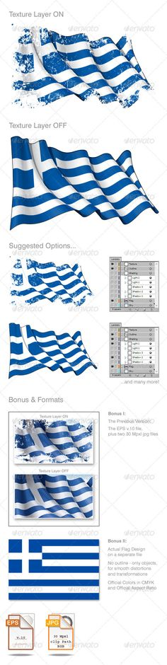 Grunge Greek Flag  #GraphicRiver         Waving Greek flag under a grunge texture layer… Layered EPS v.10 File and 2 versions 6.8×4.4 kpxl in top quality JPGs format with clipping path.  	 Your Rate is appreciated… Thanx!!!  	 ENJOY !!!  	 Note: Updated Version; this version released 4 months and 6 sales after the first one     Created: 21February12 GraphicsFilesIncluded: JPGImage #VectorEPS Layered: Yes MinimumAdobeCSVersion: CS Tags: aegean #athens #austerity #background #bankruptcy #blue…