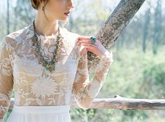 Photography : Alexandra Elise Photography | Wedding Dress : Rue de Seine Read More on SMP: http://www.stylemepretty.com/new-york-weddings/ithaca/2016/08/26/firelight-camps-inspiration-shoot/