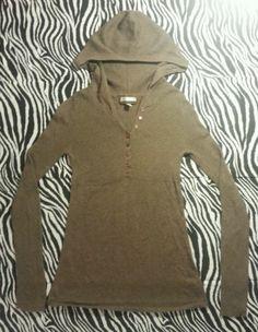 Aeropostale Juniors Knit Light Sweater Hooded Babydoll Tee Shirt Top Size S ~EUC