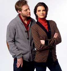 M6803 Misses'/Men's Cardigans MISSES'/MEN'S CARDIGANS: Semi-fitted cardigans have front and lower bands, and sleeves with cuffs. B and C: side pockets. C: patches. D: welts. C and D: collar. Designed for Medium-Weight to Moderate Stretch Knits. SUGGESTED FABRICS: Sweater Knits, Cotton Knit, Sweatshirt Fleece and Interlock. Contrast C: Faux Leather/Suede.
