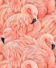 Rasch Pink Flamingo Contoured Vinyl Feature Wallpaper 823820