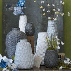 Ceramic Woven Vases | west elm: Short Narrow White Vase and Tall Wide White Vase