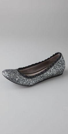Vera Wang Lavender Line | Vera Wang Lavender Mariel Glitter Ballet Flats in Gray (anthracite ...