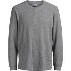 Jack & Jones Jorgeorge Thermal Henley Shirt ($18) ❤ liked on Polyvore featuring men's fashion, men's clothing, men's shirts, men's casual shirts, tops, light grey, mens patterned shirts, mens thermal shirts, mens long sleeve thermal shirts and mens henley shirts