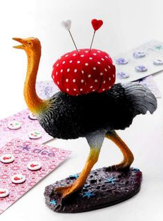 Ostrich pincushion