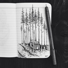 Ink Drawing of a Cabin in the Woods // via samlarson