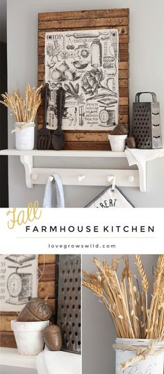 Get inspired for fall decorating with this lovely fall farmhouse kitchen! See more photos at LoveGro Image Deco, Kitchen Redo, Kitchen Ideas, Kitchen Vignettes, Kitchen Art, Kitchen Hacks, Kitchen Remodel, Farmhouse Chic, Farmhouse Fabric