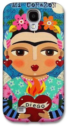 Diego Rivera Galaxy S4 Cases - Frida Kahlo Angel and Flaming Heart Galaxy S4 Case by LuLu Mypinkturtle