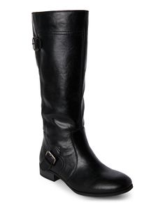 Nine West Black Sookie Girl Buckled Tall Boots