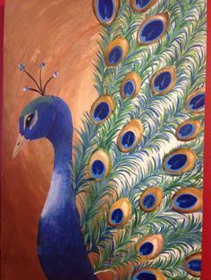 "My peacock painting done in acrylics on a 25"" x 34"" stretched canvas :)"