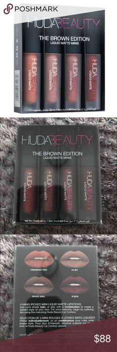 Huda Beauty Mini Mattes - Brown Edition Huda Beauty Liquid Mini Mattes Brown Edition. Brand new. Never used or swatched. PRICE IS FIRM. Also listed on Ⓜ️ for $78 and e B a y for $70 both with free shipping.  Trendsetter (a stylish brown nude) Flirt (a cheeky brown) Spice Girl (an iconic 90s brownish mauve) Vixen (a poisonous deep brown)  *Before making rude comments regarding price, please keep in mind, this set was purchased via her website and shipping was over $20 to be shipped from Dubai…