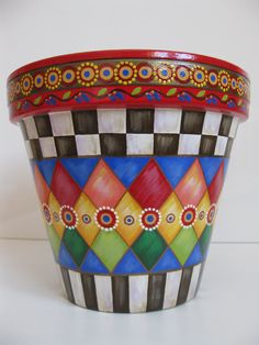 Whimsical Flowers Terracotta Planter /Country checkered design/ Flower pot/ Hand painted pottery/ check and diamond pattern Flower Pot Art, Flower Pot Design, Clay Flower Pots, Flower Pot Crafts, Painted Clay Pots, Hand Painted Pottery, Painted Flower Pots, Pottery Painting, Painted Pumpkins