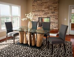 Dining Room Ideas:Unusual Idea Of Dining Space With Grey Chairs And Glass Table With Log Legs Above The Fascinating Cool Dining Room Carpet Cool Dining Room Carpet For Warm Feet
