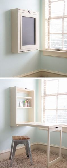 Fold Out Wall Table 12 DIY Kitchen Storage Ideas For More Space in the Kitchen Diy Rangement, Folding Walls, Diy Kitchen Storage, Craft Storage, Extra Storage, Desk Storage, Diy Desk, Small Living, Home Organization