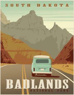 Poster Sport, Poster Cars, Poster Retro, Poster Vintage, Vintage Design Posters, Vintage Wall Art, South Dakota, Vintage National Park Posters, Poster Festival