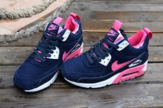 2016 Latest Nike Air Max 90 High Tops Shoes For Women Navy Blue Pink