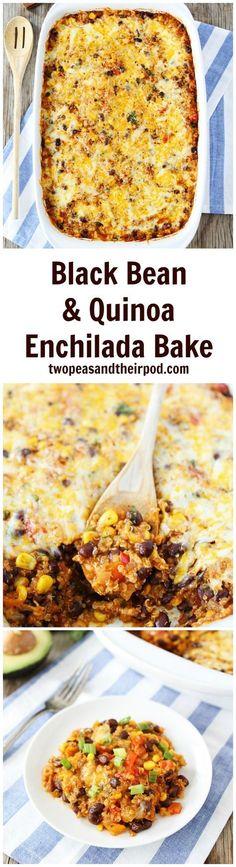 Black Bean Quinoa Enchilada Bake is a family favorite dinner. Even the kids LOVE this quinoa casserole. Bonus-it freezes well too! #vegetarian #glutenfree #quinoa #dinner