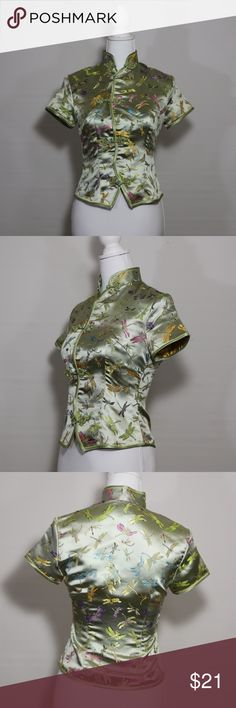 cheongsam dragonfly blouse Asian inspired oriental cheongsam style top  approx measurements chest:31in length:20in sleeve:5in   B-208 Peony and Moss Tops Blouses