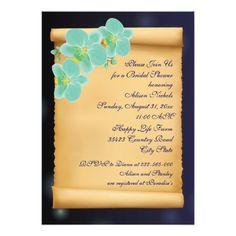 Aqua blue orchid flowers wedding bridal shower personalized invite