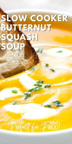 butternut squash soup This Crockpot Butternut Squash Soup is a great healthy winter warmer and so easy to make! You can make this simple but so flavorful and creamy soup in your C Autumn Squash Soup Recipe, Butternut Squash Soup Crockpot, Winter Squash Soup, Acorn And Butternut Squash Recipe, Pumpkin Soup, Pumpkin Recipes, Creamy Soup Recipes, Crock Pot Soup Recipes, Instant Pot