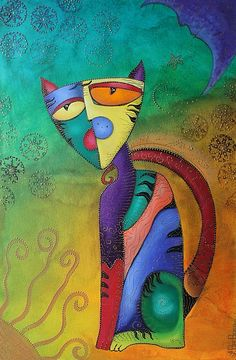 "Modern Colorful Cat Paintings | Celestial Cat (Cubism, Painting, Decorative, Colorful)"" - Acrylics On ..."