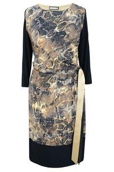 Aldona sukienka dzianina wąż z wiązaniem / Aldona dress with print #dress #autumn #new #season #outlet #fashion #shop #print