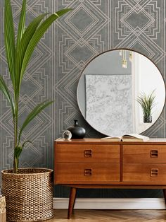 This stylish Delano Geo wallpaper will make a great statement in your home. The design features a matte backdrop in mid grey tones, with both smooth and softly textured sections creating a natural organic feel. This is overlaid with an Art Deco style geometric pattern with a contrasting metallic rose gold finish. Easy to apply, this high quality wallpaper would look great as a feature wall or equally good when used to decorate a whole room. Geometric Wallpaper Metallic, Geo Wallpaper, Textured Wallpaper, Interior Styling, Interior Design, Rose Gold Pink, Blush Pink, Grey Roses, High Quality Wallpapers