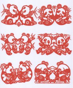 Chinese Paper Cuts Twin Pandas   eBay