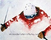 Large Ski print (from skier painting Watercolor 11x14 ) snow painting / ski painting / snowboard painting gifts for him gifts for man