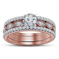 3 Pcs Milegrain Marquise D/VVS1 Diamond 14K Rose Gold 925 Silver Bridal Ring Set #aonejewels #EngagementWeddingAnniversary