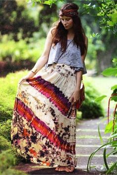 Hippies wore alot of long skirts with colorful patterns on them