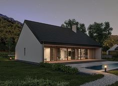 Murator C365j Przejrzysty - wariant X - zdjęcie 5 Small Modern House Plans, My House Plans, Facade House, Home Fashion, Bungalow, Gazebo, Sweet Home, Cottage, Outdoor Structures