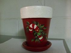 Hand painted candy cane clay pot on Etsy, $8.00